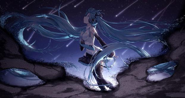 Обои Vocaloid Hatsune Miku / Вокалоид Хатсунэ Мику и звездное небо отражаются в воде