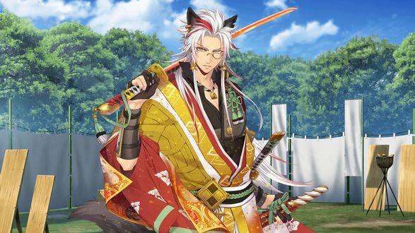 Обои Парень с ушками в очках и в японской одежде с катаной из игры Sengoku Night Blood