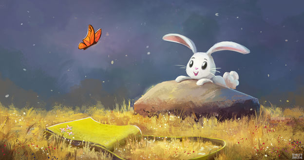 Обои Белый зайчик смотрит на бабочку, by aJVL