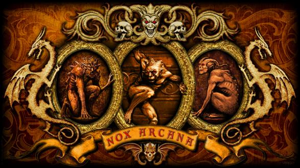 Обои Черти в ажурных рамках с драконами, черепами и шутом (Nox Arcana)
