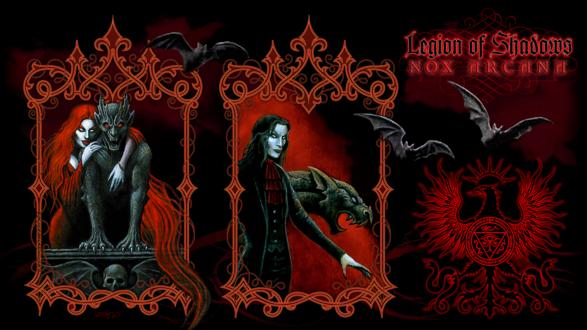 Обои Вампиры, мужчина и женщина в окнах, гаргулия и летучие мыши (Nox Arcana / Legion of Shadows)