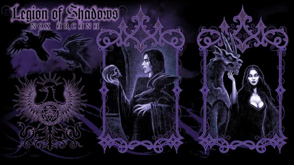 Обои Гамлет с черепом и вороном, и девушка с гаргульей в окнах (Nox Arcana, Legion of Shadows)