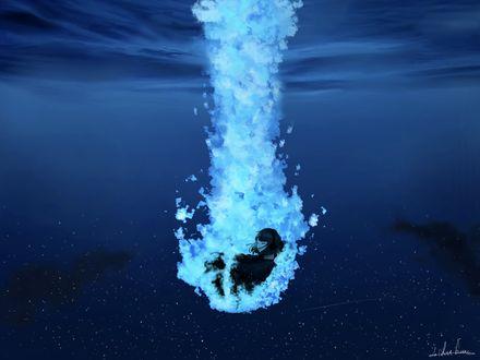 Обои Девушка погружается под воду