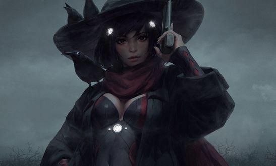 Обои Девушка в шляпе, с оружием в руке, by GUWEIZ