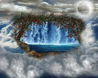 Обои Вид на водопад сквозь облака через арку из деревьев и цветов