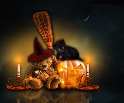 Обои Игрушечный мишка и черный котенок, сидящий на светильнике Джека, при свечах на мрачном фоне