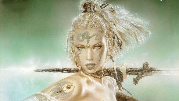 Обои Лицо амазонки с мечом в руке, by Luis Royo