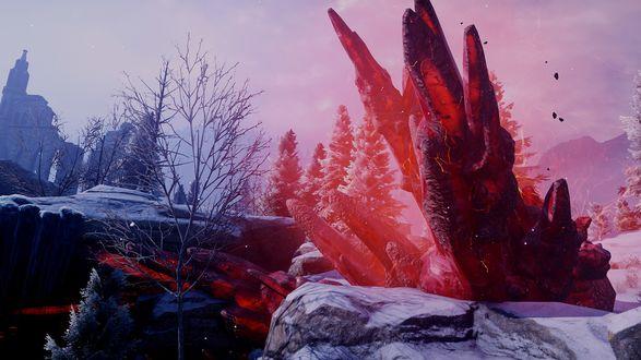 Обои Красный лириум / Red Lyrium на фоне зимнего пейзажа из игры Dragon Age: Inquisition / Век дракона: Инквизиция