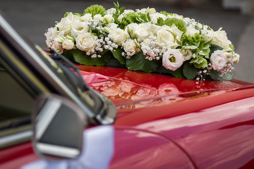 Обои Свадебные цветы на капоте авто