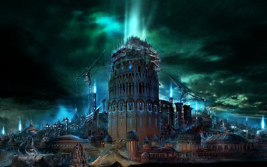Обои Молния над Вавилонской башней