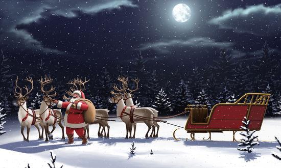 Обои Санта и его олени с санями зимой на заснеженной поляне среди елок под луной