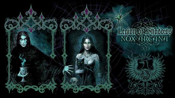 Обои Вампир с кубком и девушка с кошкой и черепом в ажурных окнах и паутине (Nox Arcana, Legion of Shadows)