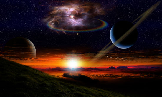 Обои Природный пейзаж и космическое пространство на закате