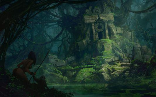 Обои Женщина-аборигенка с обезьяной обнаружила руины храма исчезнувшей цивилизации в зарослях непроходимых джунглей