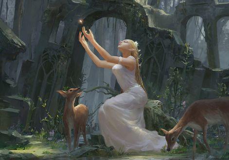 Обои Эльфийка в белом платье тянет руки к магическому кольцу, сидя на камне среди заросших руин, рядом два оленя