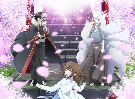 Обои Девочка с двумя парнями-екаями возле лестницы в окружениицветущей сакуры из аниме Kakuriyo no Yadomeshi