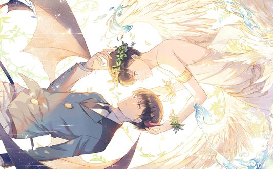 Обои Ангел и Демон, два парня из аниме Osomatsu-san