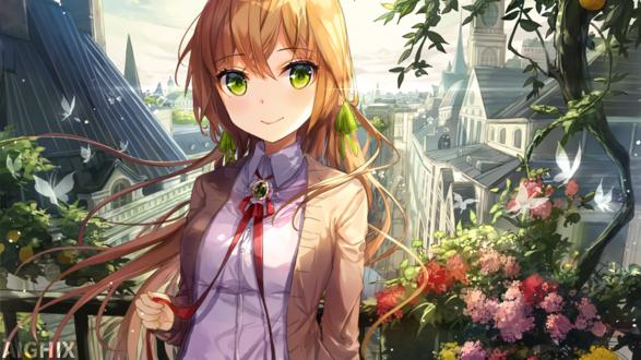 Обои Аниме девушка на фоне цветов и домов, by AIGHIX
