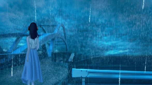 Обои Девушка в наушниках стоит под дождем к нам спиной