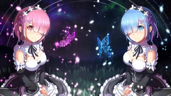 Обои Rem / Рем и Ram / Рам из аниме Re: Zero kara Hajimeru Isekai Seikatsu / Re: Жизнь с нуля в параллельном мире, by AIGHIX