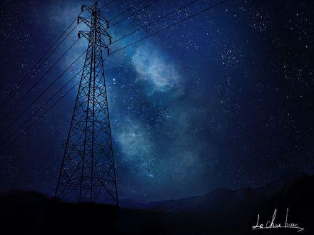 Обои Линии электропередач на фоне ночного неба