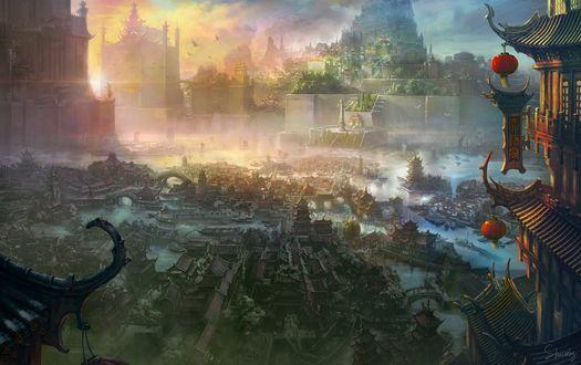 Обои Вид сверху на панораму древнего китайского города династии Цынь / The Xuan Empire