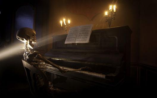 Обои Скелет играет и поет на пианино в помещении при свечах