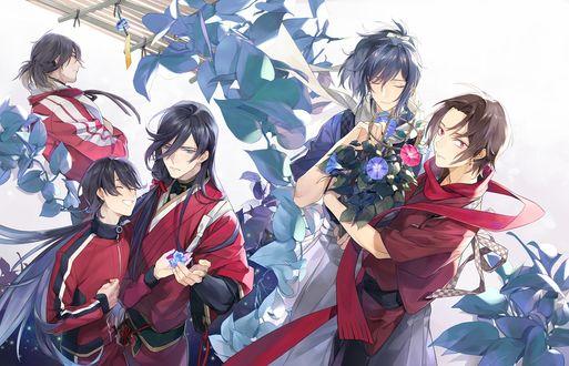 Обои Tsurumaru Kuninaga / Тсурумару Кунинага, Munechika Mikazuki и другие персонажи из игры и аниме Touken Ranbu / Танец мечей