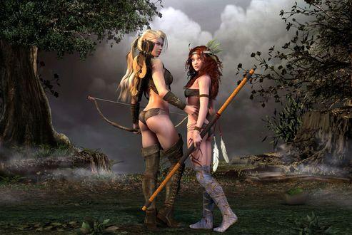 Обои Две девушки-охотницы стоят в лесу на фоне серого неба