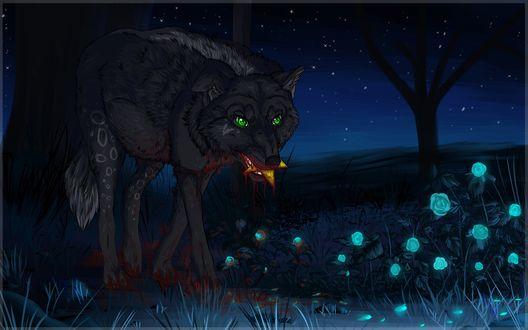 Обои Злобное существо, похожее на волка и оборотня одновременно, держит в пасти сияющую звезду