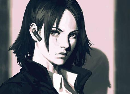Обои Черно-белый портрет девушки, by GUWEIZ