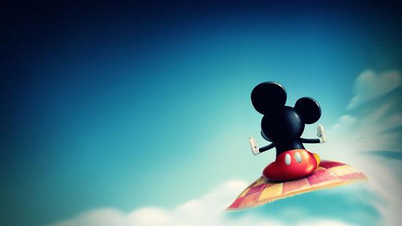Обои Микки-Маус летит по небу на ковре-самолете, by CarlosTown