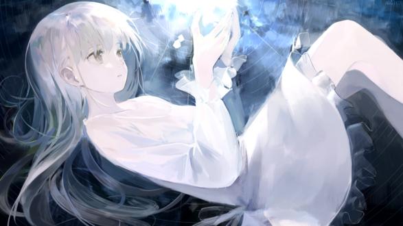 Обои Длинноволосая девушка в белом платье, by AIGHIX