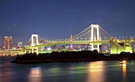 Обои Радужный мост на фоне ночного города Токио