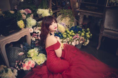 Обои Азиатка в красном платье сидит в пол-оборота на полу среди букетов разноцветных астр, роз и хризантем