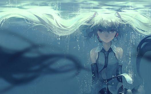 Обои Vocaloid Hatsune Miku / Вокалоид Хатсуне Мику под водой, by Hanyijie