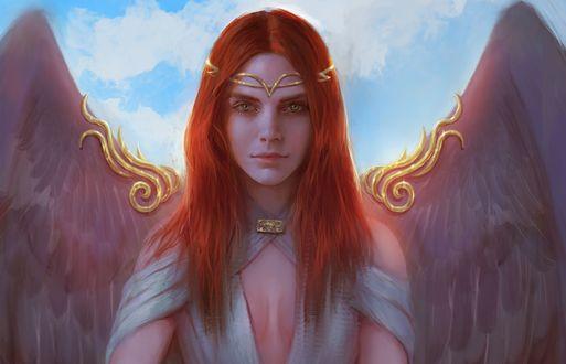 Обои Aurin - ангел на фоне неба, by BellaBergolts
