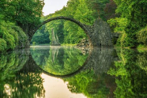 Обои Мост из камня над речкой в парке родендронов и азалий Кромлау, Германия