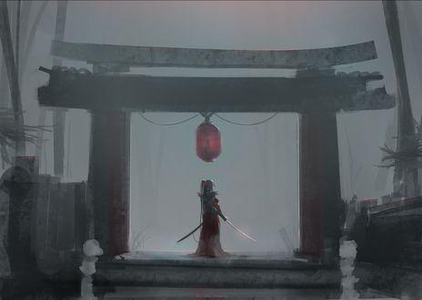 Обои Девушка с катаной стоит у ворот торий и смотрит в туманную даль, by Aoi Ogata