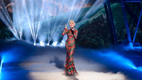 Обои Американская певица Lady Gaga / Леди Гага поет на сцене