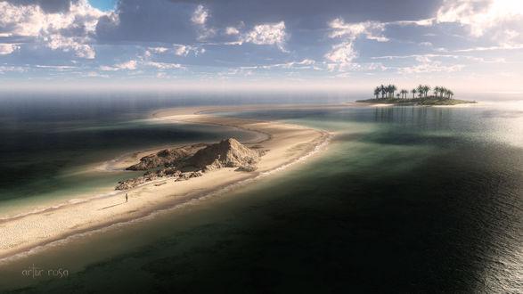 Обои Дорога из песка к острову среди океана, by Artur Rosa
