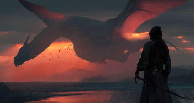Обои Рыцарь смотрит на пролетающего над рекой на закате огромного дракона