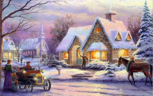 Обои Карета и лошади остановились возле дома в Рождество, by Thomas Kinkade