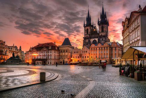 Обои Улица Праги вечером, Чешская Республика
