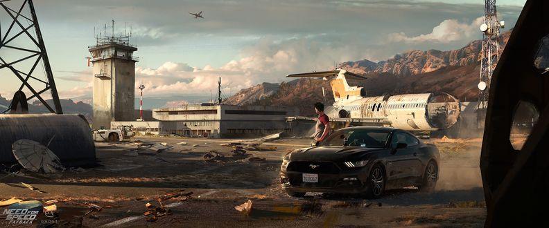 Обои Ford Mustang с водителем на фоне старого здания и разрушенного самолета из игры Need For Speed