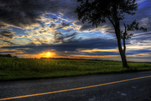 Обои Пейзаж природы на закате дня