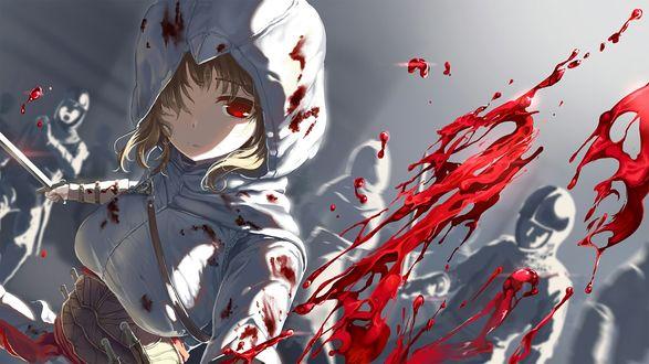 Обои Аниме девушка в форме ассасина и брызги крови