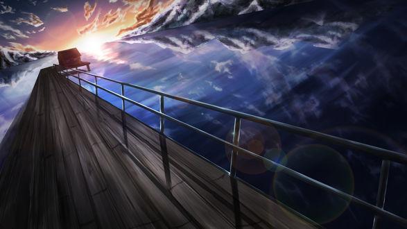Обои Домик в конце деревянного моста на фоне заката