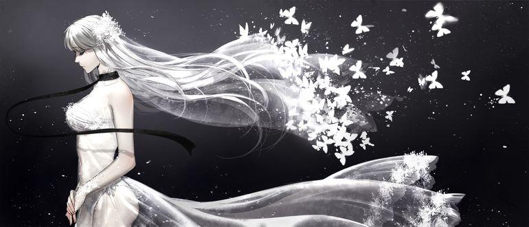 Обои Невеста, из фаты которой вылетают белые бабочки, с черной лентой на шее