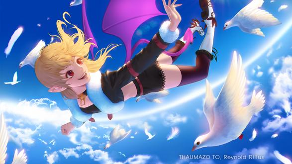 Обои Светловолосая девочка-демон летит в небе среди белый голубей, by thaumazo